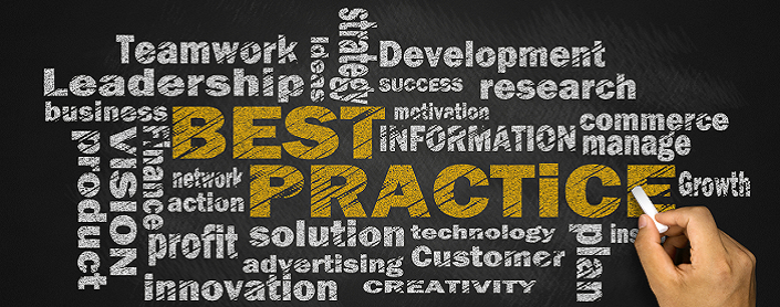 Word cloud with terms describing best practices