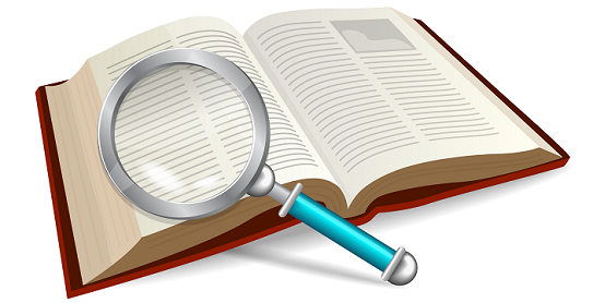 open book with a magnify glass